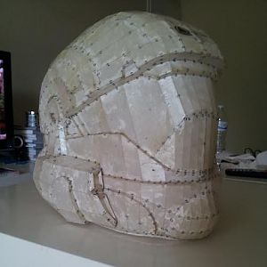Helmet after resin and fiberglass stage