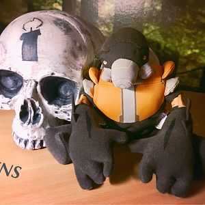 My Grunt birthday skull prop with little Grunt plush